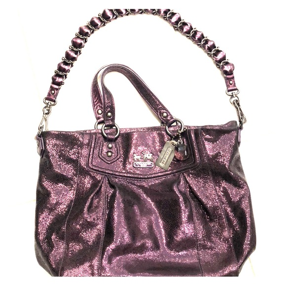 Coach Handbags - Glitzy purple leather Coach bag!